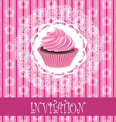 card with cupcake vector image vector image
