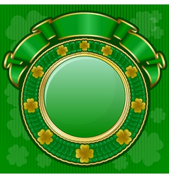 circle frame from shamrock with ribbon for st patr vector image vector image