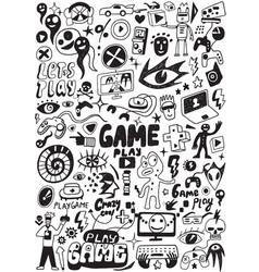 computer games doodles vector image vector image