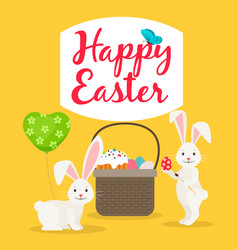 Easter basket and rabbits greeting card vector
