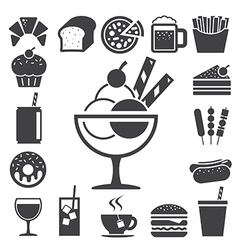 Fast food and dessert icon set eps10 vector image vector image