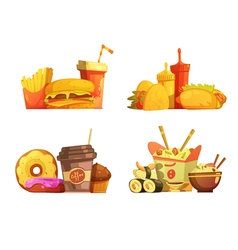 Fast Food Meal Retro Cartoon Set vector image vector image