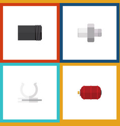 flat icon industry set of container tube conduit vector image vector image