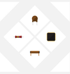 Flat icon technology set of cpu resistance vector