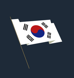 flat style waving republic of korea flag vector image