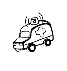hand-drawn ambulance linear image on the vector image vector image