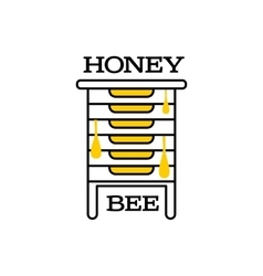 Hand-drawn bee hive logo for honey products vector