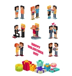 Happy Valentine Day Couple 3d Isometric vector image