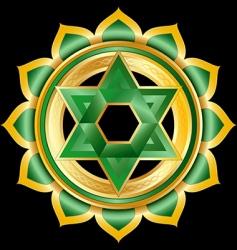 Hindu chakra anahata medallion vector