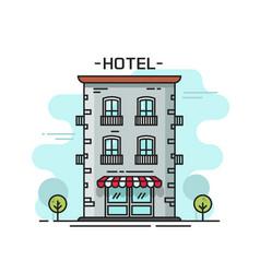 hotel building line outline vector image vector image