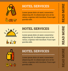 hotel services banners with color outline icons vector image vector image