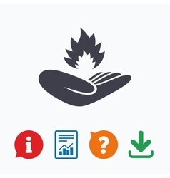 Insurance against fire Hand holds fire flame vector image vector image