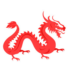 isolated red dragon on white chinese symbol vector image