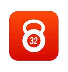 Kettlebell 32 kg icon digital red vector