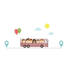 Kids Traveling by Bus vector image vector image
