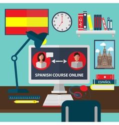 Learning spanish online language school education vector