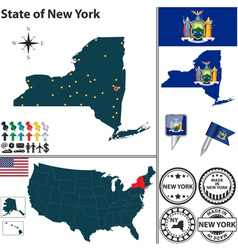 Map of New York vector image vector image