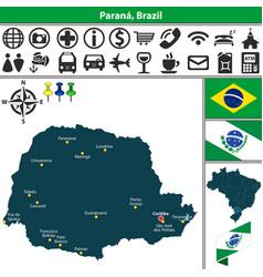 Map of parana brazil vector