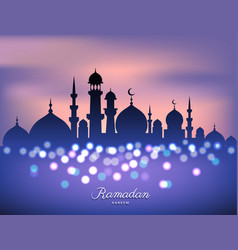 Mosque silhouette in sunset sky and candles light vector