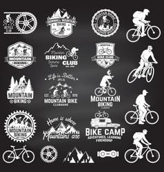 mountain biking collection vector image vector image