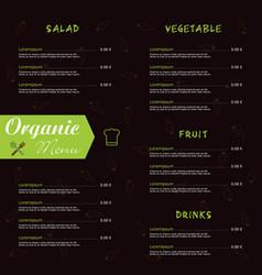 organic menu food in color vector image vector image