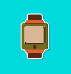 Paper sticker on background of digital watch vector