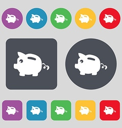 Piggy bank icon sign a set of 12 colored buttons vector