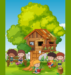 scene with kids and treehouse vector image vector image