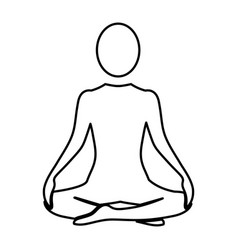 Silhouette woman sitting yoga position vector