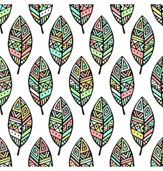 Soft colored ethic mexican leaf seamless pattern vector