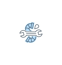 Water drop pipe and wrench plumbing icon and logo vector