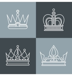 White line crown icons on gray background vector image vector image