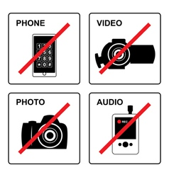 No recording signs vector