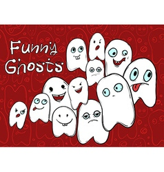Company amusing ghosts with different emotions vector
