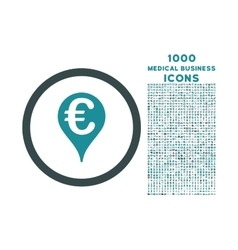 Euro bank map pointer rounded icon with 1000 bonus vector
