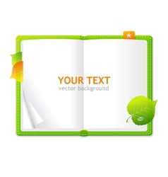 Open personal organizer book green vector