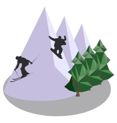 Mountain jumping skiing and snowboard vector