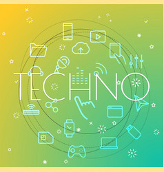 Techno concept different thin line icons included vector