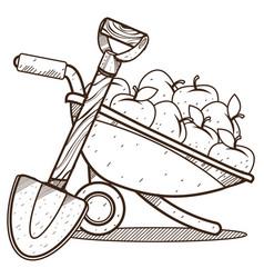 Garden wheelbarrow with apples and shovel farming vector
