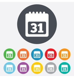 Calendar sign icon 31 day month symbol vector