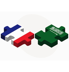 France and saudi arabia flags in puzzle vector