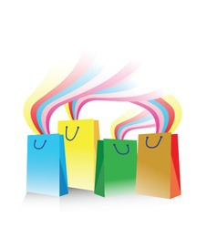 Illustration of shopping bags with rainbow emergin vector