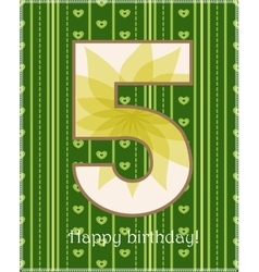 Happy birthday fivecard vector