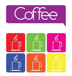 1208 coffee cup icon set vector