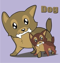 Two cute dog vector