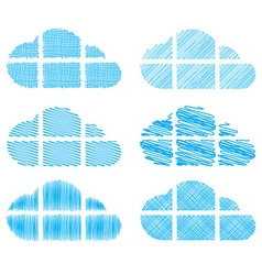 Set of clouds in the form of windows with vector