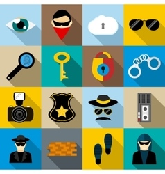 Spy icons set flat style vector