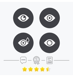 Eye signs eyeball with water drop symbols vector