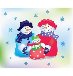 Happy snowman family vector image