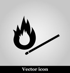 Burning match icon on grey background vector